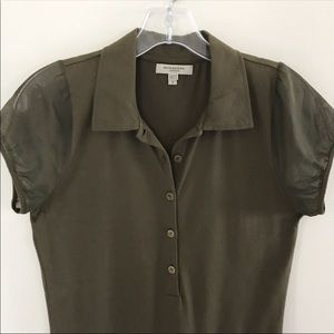 Burberry London Olive Green Sheer Sleeves Polo S